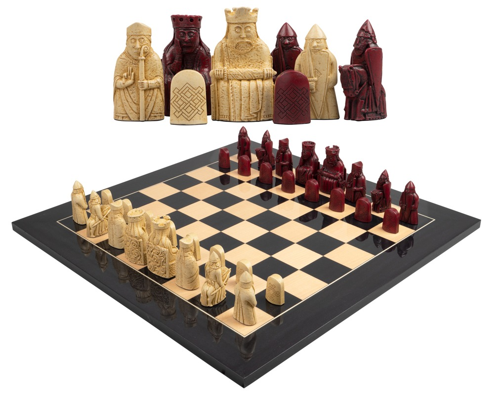 The Isle of Lewis Black and Red Chess Set