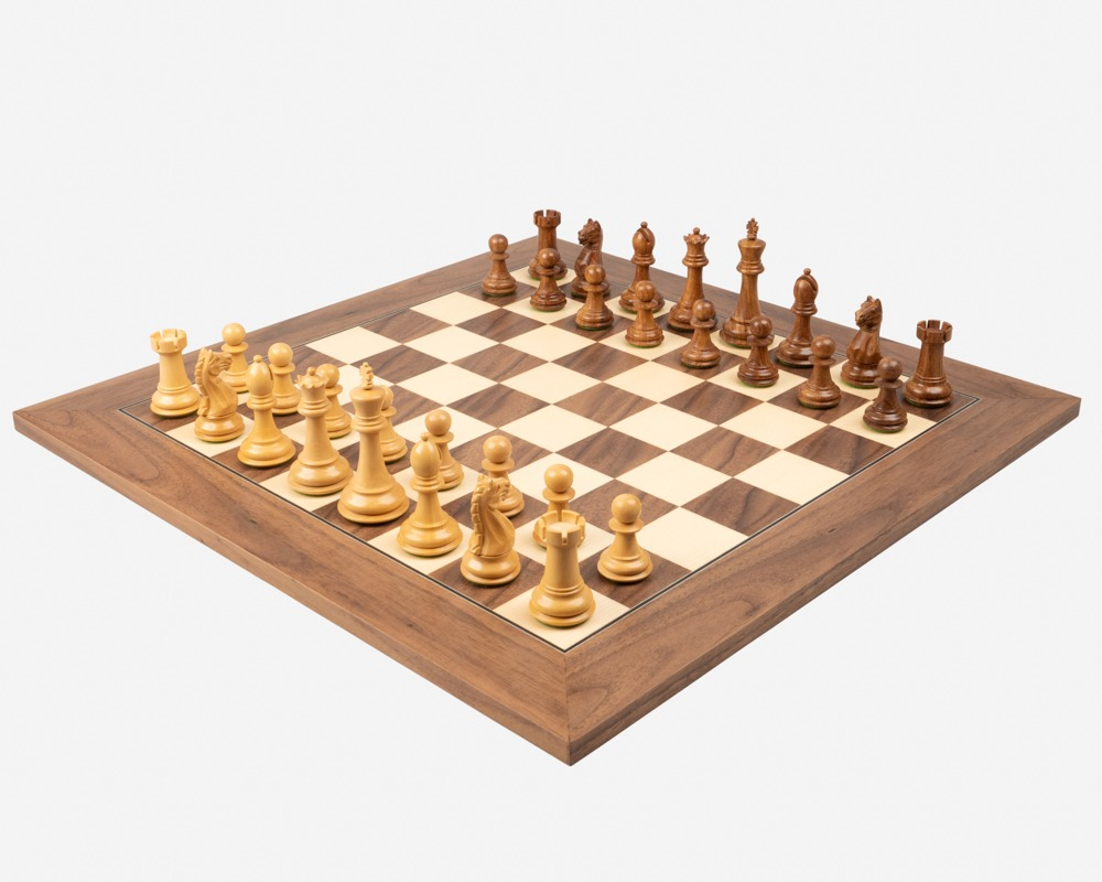 The Oxford Sheesham and Walnut Chess Set