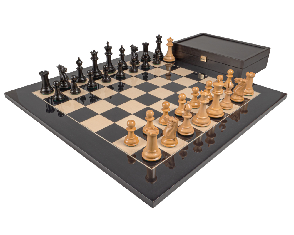 The 1849 Reproduction Staunton Ebony & Black Anegre Luxury Chess Set