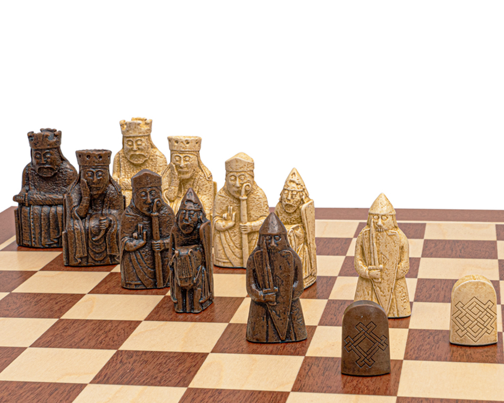 The Regency Isle of Lewis and Mahogany Chess Set mid sized