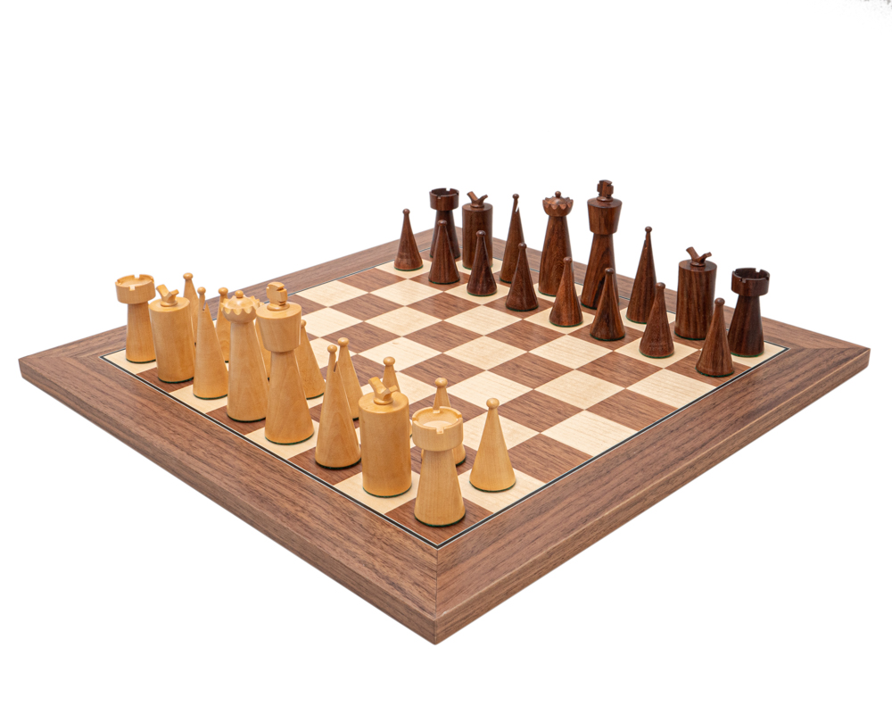 The Art Deco Sheesham and Walnut Chess Set