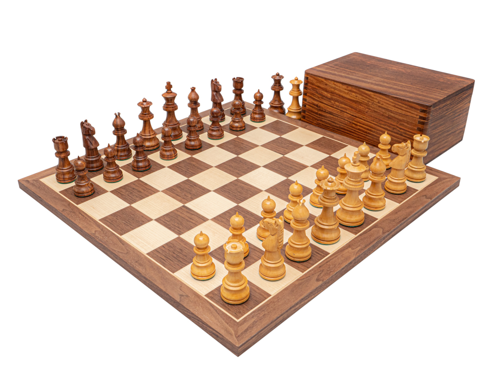 The Opus Sheesham and Walnut Chess Set with Case