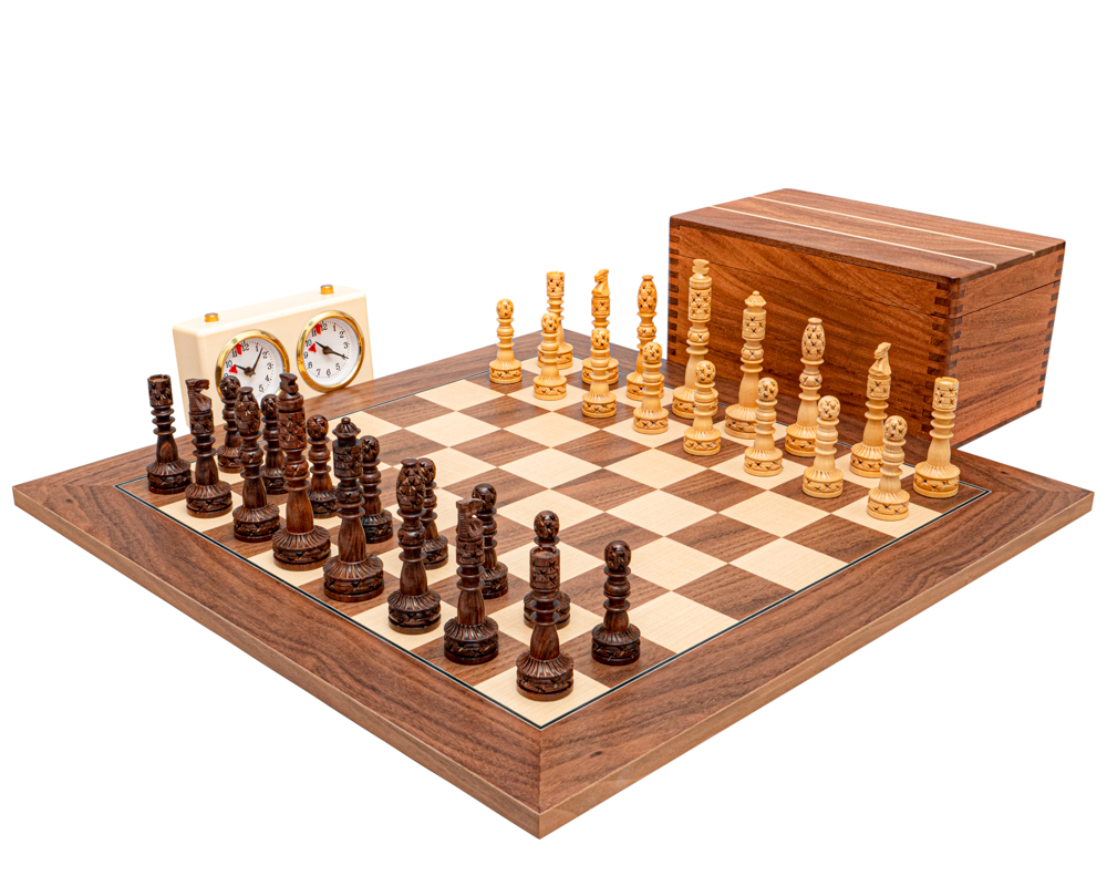 The Tower Series Carved Sheesham and Walnut Chess Set