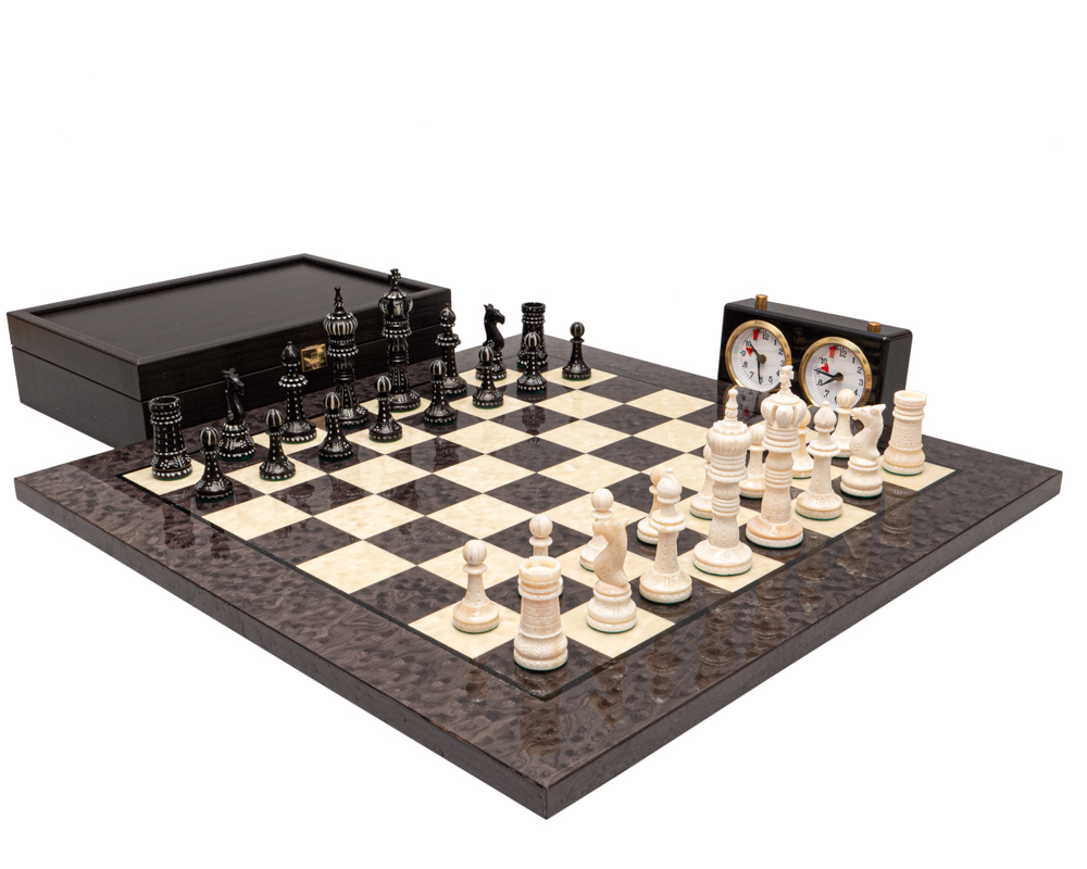 The Kings Cross Carved and Grey Erable Chess Set