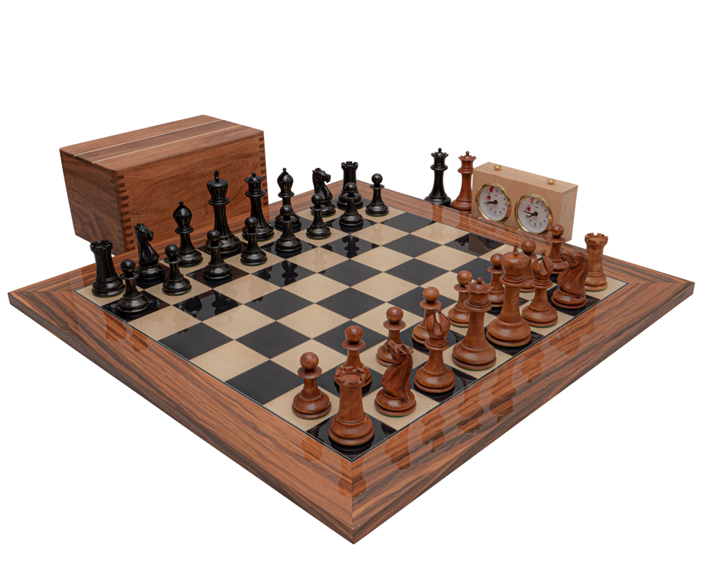 The 1849 Reproduction Staunton Ebony, Antiqued and Palisander Luxury Chess Set