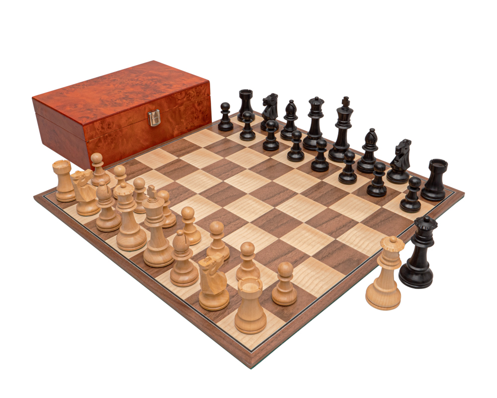 The Conquest Walnut and Black Folding Chess Set