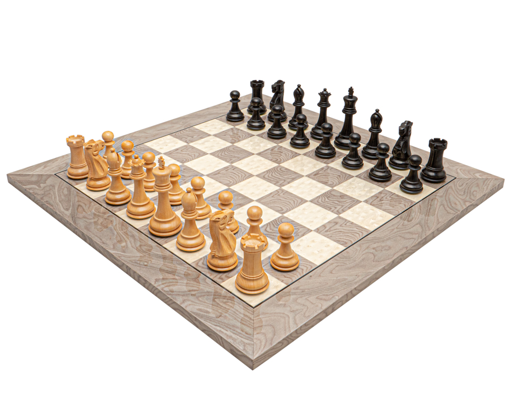 The Victoria Black and Grey Ash Burl Classic Chess Set