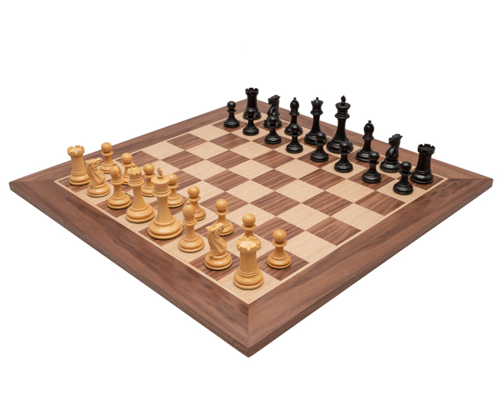 The Old English Elite Walnut and Black Deluxe Chess Set
