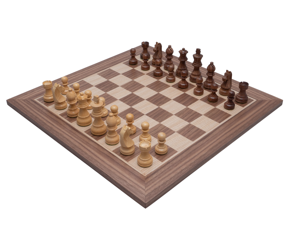 The Down Head Acacia and Walnut Chess Set