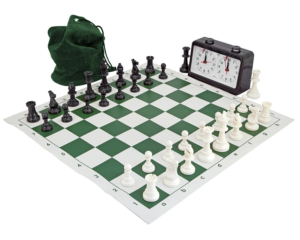 Complete Tournament Chess Set Green