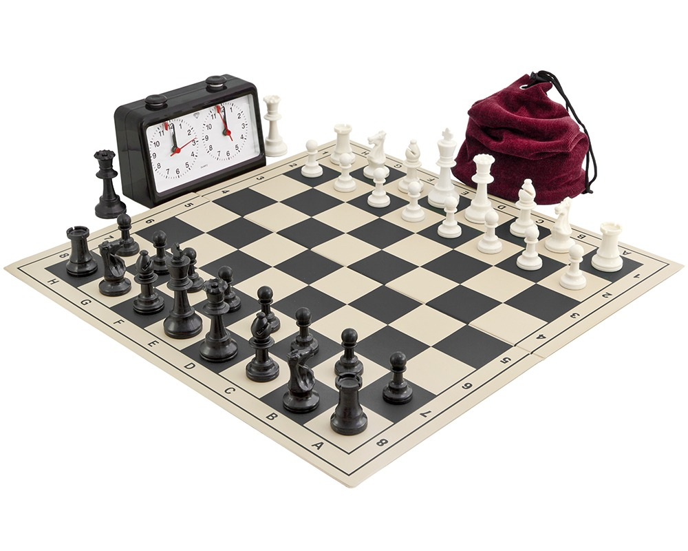 Complete Tournament Folding Chess Set Black