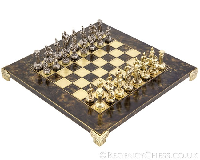 Manopoulos Greek Roman Army Metal Chess Set