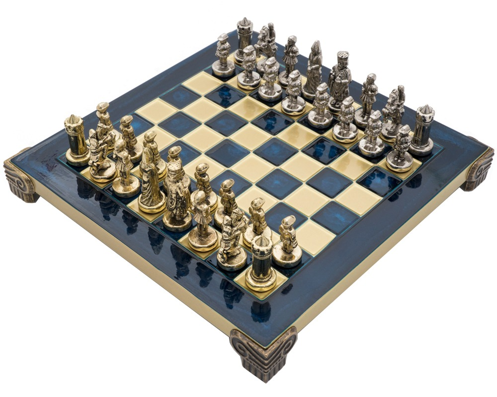 The Manopoulos Byzantine Empire Chess Set With Wooden Case In Blue