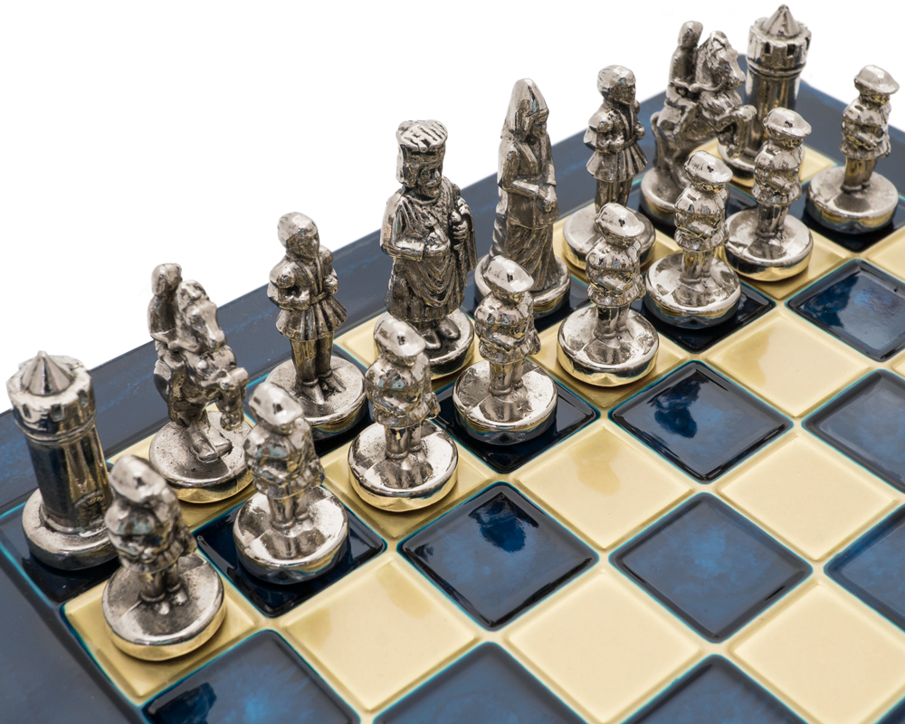 Case Blue Board Game : The manopoulos byzantine empire chess set with wooden case in blue