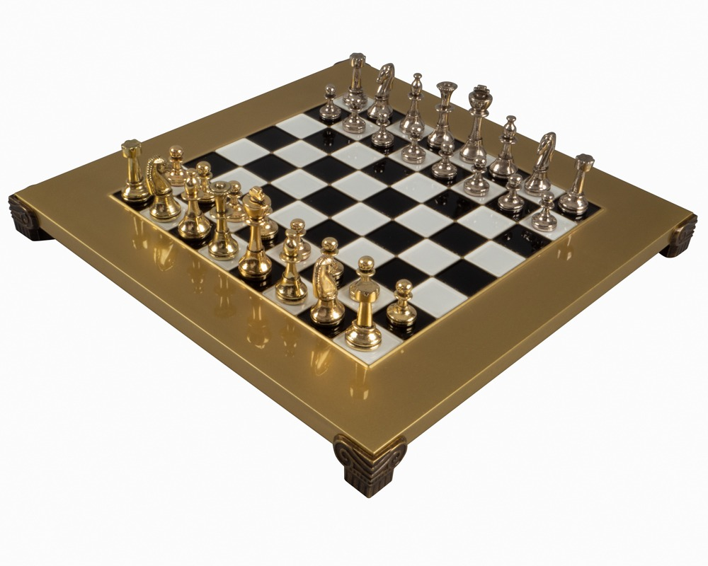The Manopoulos Staunton Gold & Silver Chess Set with cabinet
