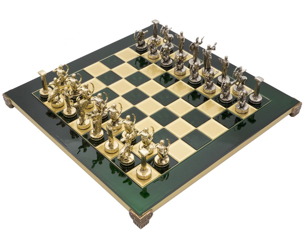 The Manopoulos 'Labours of Hercules' Chess Set with Wooden Case