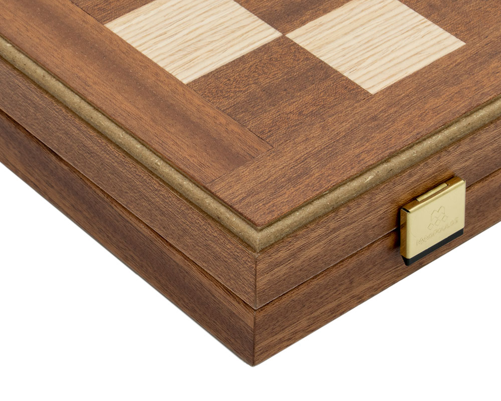 Mahogany Combination Backgammon and Chess Set with deluxe vinyl cups