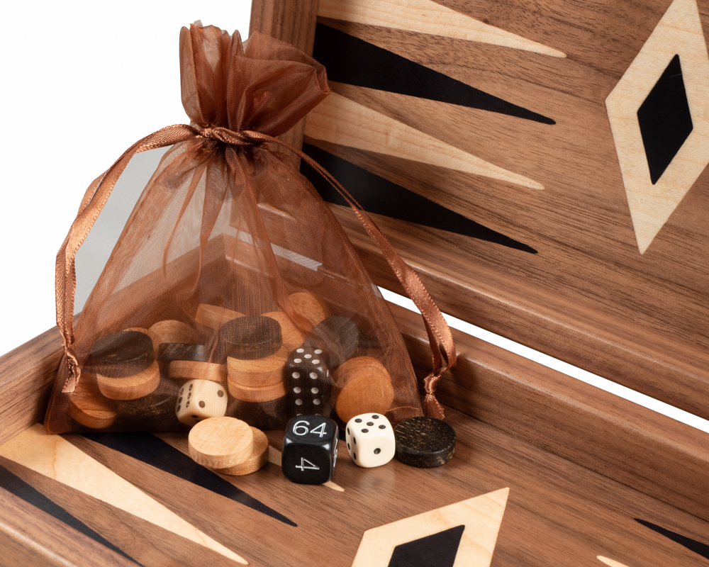 American Walnut Backgammon and Chess Combination Set - Travel Size - with deluxe Philos cups
