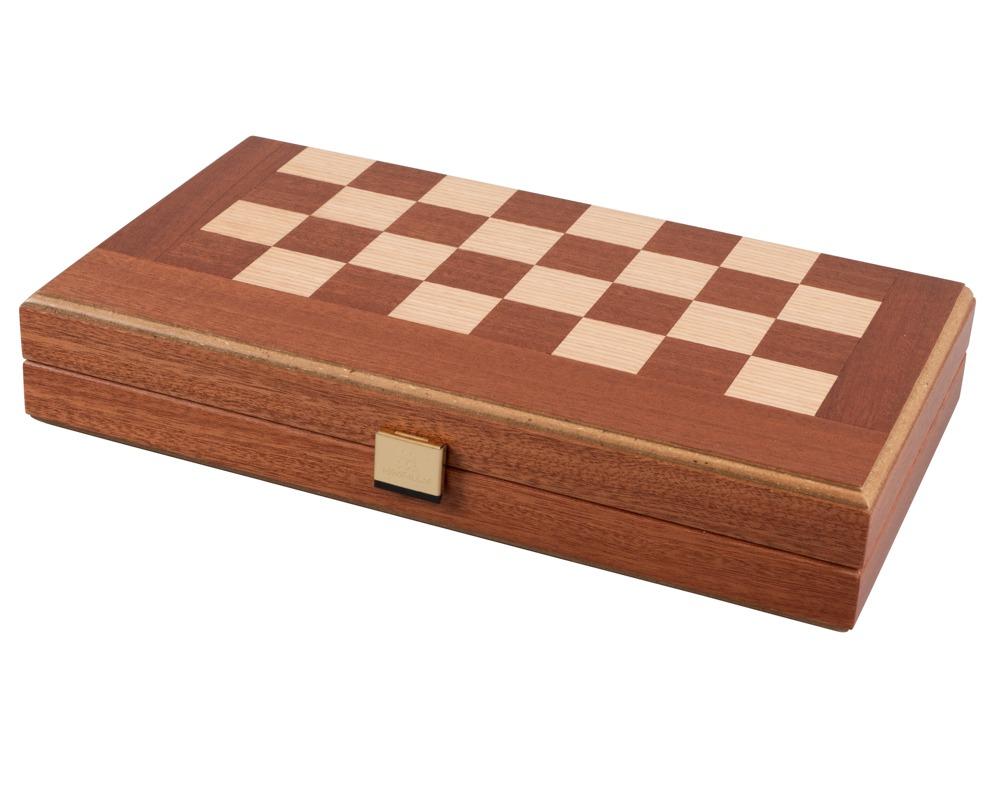 Mahogany Combination Backgammon and Chess Set - Travel Size - with deluxe Philos cups