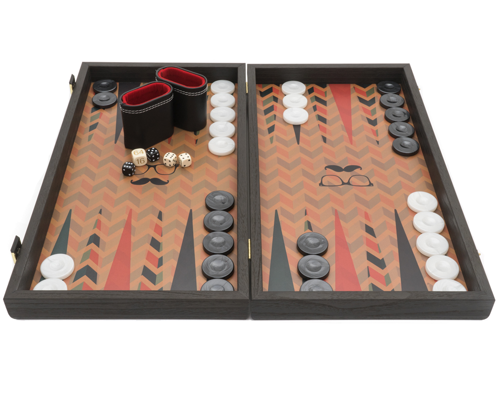 The Manopoulos Creative Range 'Hipster' Backgammon Set with Vinyl Deluxe Cups