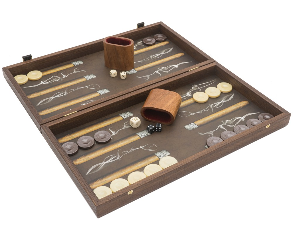 The Manopoulos Creative Range 'Robusto Cigar' Backgammon Set with Vinyl Deluxe Cups